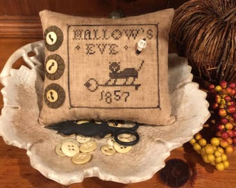 Olde Hallows Eve Pinkeep, Pincushion, Cupboard Pillow, Primitive Bettys Design, Cross Stitch ~ FREE U.S. SHIPPING