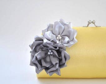 Pale yellow clutch with Gray and Silver flowers - Bridesmaid Clutch / Bridal clutch / Prom Clutch/Custom clutch
