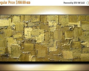 SALE 48 x 24 Original Abstract Heavy Texture Impasto Carved Oil Olive Brown Green Gold Metallics Painting by Je Hlobik