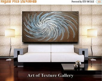 SALE Original 64 x 40 HUGE Custom Abstract Texture Brown Beige Copper White Floral Metallic Carved Sculpture Knife Oil Painting by Je Hlobik