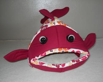 Fish shaped pet bed Red and Peach,  Plumeria Fabric