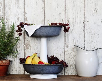 Tiered Metal Stand - Created from Vintage Enamelware Bowls & Antique Wooden Spindle - Repurposed and Upcycled