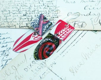 Half and Half Mixed Tin Earrings, Red, Black and Silver, Vintage Cookie and Cracker Tins, Light Weight