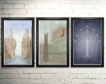 """Lord of the Rings Word Art Print Three Set - 11x17"""" Framed"""