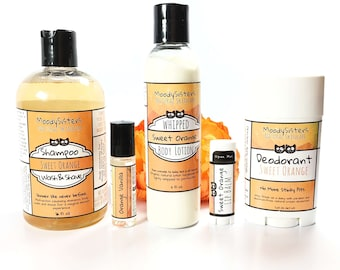 Orange Lovers - Hair & Body Gift Set for Awesome Women, Moms, Teens - Fun hippie natural hair and body care Gift Set for women