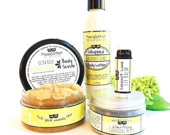 Beachy Women - Skincare Gift Set for Awesome Women, Moms, Teens - Coconut Lime - Fun beach hippie natural skincare Gift Set for women