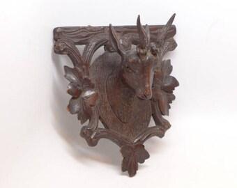 Antique Black Forest Wood Carving Roe Deer Head - Carved Wood Deer Head - Black Forest Carving