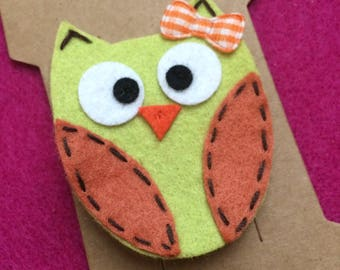 Bright Green and Orange Owl Hair Bow Clip
