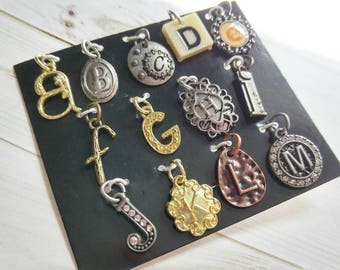 Alphabet Charms Pendants Silver Gold Copper Letter Charms Initial Charms Assorted Set A to M Letter Pendants