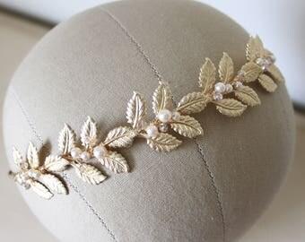 Gold leaf bridal hair band, wedding headband, bridal headband, grecian headpiece, grecian hairband, statment hairpiece, gold leaf tiara