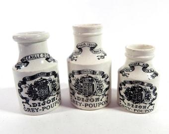 3 Vintage French Dijon Mustard Pots
