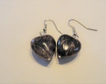 Stone Heart Earrings