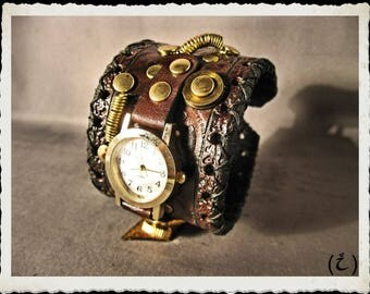 Steampunk leather bracelet - watch *  brown *