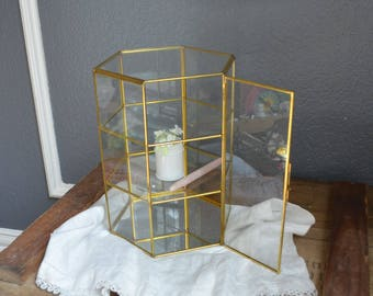 Large Vintage Brass and Glass Display Case Hanging or Standing Gold Curio Cabinet with Mirror Miniatures Shelves Wall Gift Wedding Six Sides