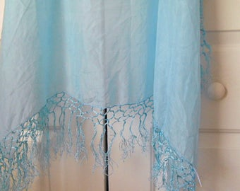 Vintage sky blue SILK square fringed piano shawl Scarf