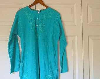 Vintage teal blue India traditional style Tunic
