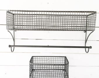 Basket Towel Rod, Bathroom Organizer, Kitchen Organizer, Bathroom Shelf, Bathroom Storage, Industrial Bathroom, Hand Towel Rack, Farmhouse