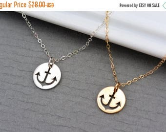 SALE - Cut out Anchor Charm Necklace // SILVER or GOLD Anchor Jewelry //  Navy Necklace //  Nautical Jewelry // Anchor Necklace // Bridesmai