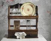 Spice Rack with Drawers , Two Tier Spice Rack , Wood Wall Shelf Display Rack , Retro Kitchen Decor , Storage Shelf