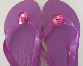 Purple Flip Flops, Women's Size Large 9 - 10, Summer Sandals
