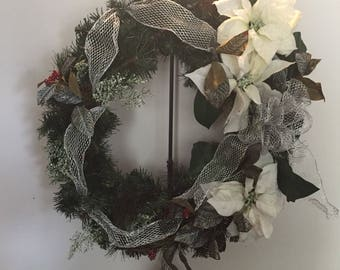 Whit and silver mesh wreath