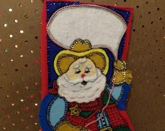 Handmade 16 inch felt & sequin Christmas stocking of Cowboy sheriff Santa - fsk36
