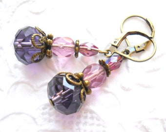 victorian earrings purple earrings purple dangle earrings victorian style earrings purple and pink vintage style earrings purple earrings
