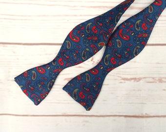Silk Bow Tie - Paisley Bow Tie - Blue Bow Tie - Freestyle Bow Tie - Vintage Bow Tie - Untied Bow Tie