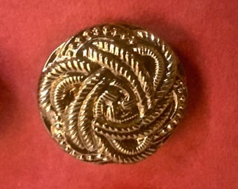 Six Vintage Glass Buttons in Gold with Woven Knot Design for Sewing and Crafting