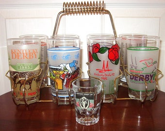 Vintage, Horse Racing Glasses And Caddy, (9), Kentucky Derby, Equestrian, Entertaining, Mint Julep, Table Service, Shot Glass, Barware