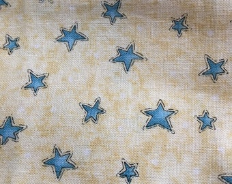 Blue Stars on marbled yellow- Fabric 20 inches