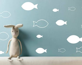 Fish wall decals, Nursery wall decals, fish wall art, sea wall decal, fish stickers, kids wall art, ocean decor, apartment decor, kids gift