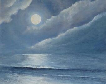 Summer's full moon over the calm ocean original acrylic painting on board