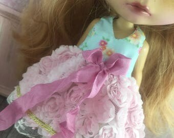 Blythe Garden of Roses Dress - Baby Pink with blue Floral