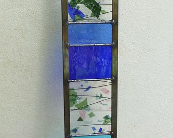 Stained Glass Garden Ornament Architectural Panel - blue and green - 90 cm high - MTO