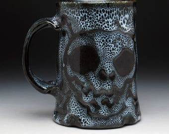 Double Skull & Crossbones Beer Mug in Black and White Spotted Glaze