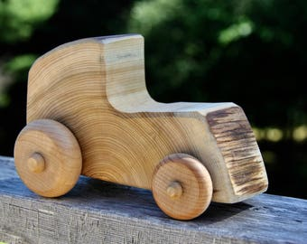 long tractor- ONE natural wood vehicle made from cedar