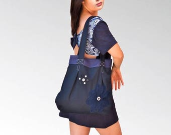 Navy blue cotton handbag, tote decorated with the buttons.