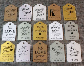 20 CUSTOM Wedding Favor Tags for Succulents - Let Love Grow / Thank You Tags