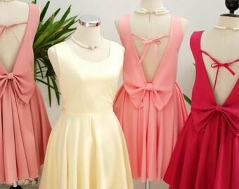 Yellow dress pink dress pink nude dress prom dress pink bridesmaid dresses butter bridesmaid dress cocktail dress prom dress backless dress