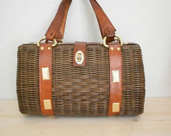 Vintage wicker and leather purse - 1960's Gaymode