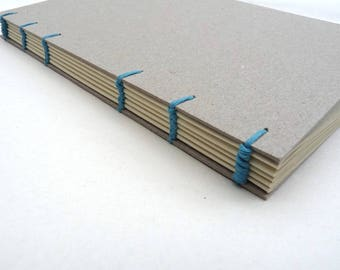 Recycled journal, notebook, Coptic, minimalistic, A5, book, personalised, turquoise, lined, ruled