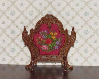 Dollhouse Miniature Firescreen Needlepoint Petit Point 4