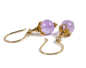 Amethyst Earrings, Amethyst Dangle Earrings, Amethyst Drop Earrings, Purple GemStone Earrings, February Birthstone, Micro Faceted