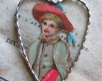 Fiona & The Fig - Antique Victorian - Little Boy With a Red Cap - Soldered Charm - Necklace - Pendant-Jewelry