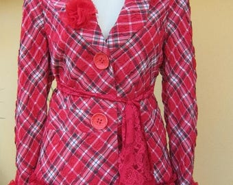 20%OFF vintage inspired red checkered jacket with ruffles of lace and vintage roses....