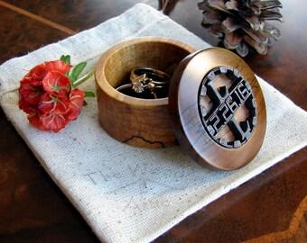 Wood Ring Box, Engagement Ring Box, Wedding Ring Box, Ring Bearer Box, Spalted Wood Ring Box, Ring Bearer Pillow, 3D Printing