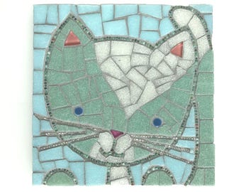 Mosaic Cat, Kitten Art, 6x6 cat mosaic with bead whiskers