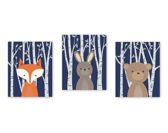 WOODLAND Nursery Wall Art, Baby Animal Pictures, Birch Wood Forest Animal, Big Boy Bedroom, Navy, Set of 3 Prints Fox Bunny Rabbit Bear 032