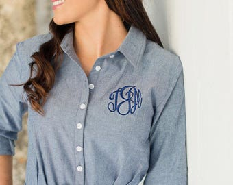 Monogrammed Personalized Women's Denim Chambray Shirt Dress with Belt
